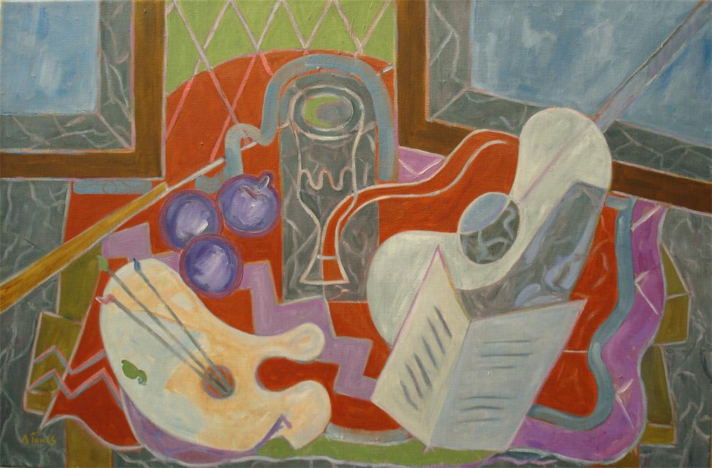 Gitarre und Palette auf rotem Tuch