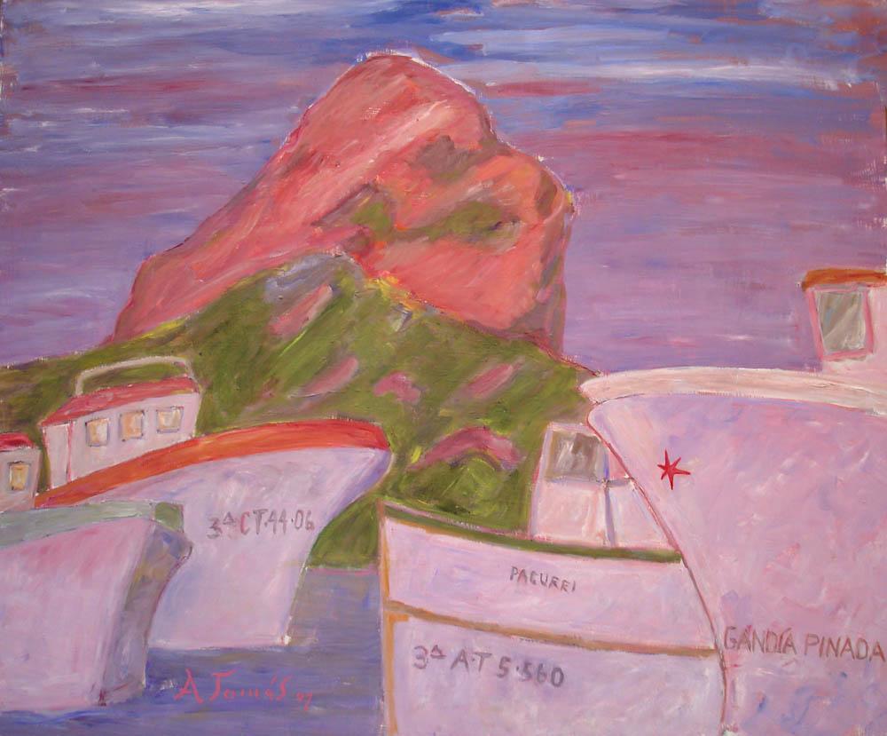 Calper Hafen mit Peñon de Ifach bei Abendstimmung