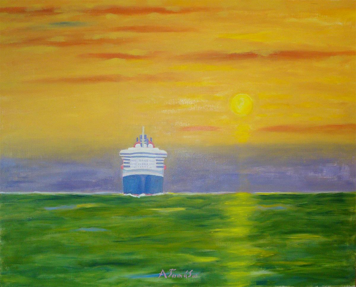 Queen Mary 2 mit Kurs auf Hamburg