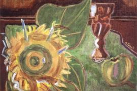 Sonnenblume auf grünem Tisch