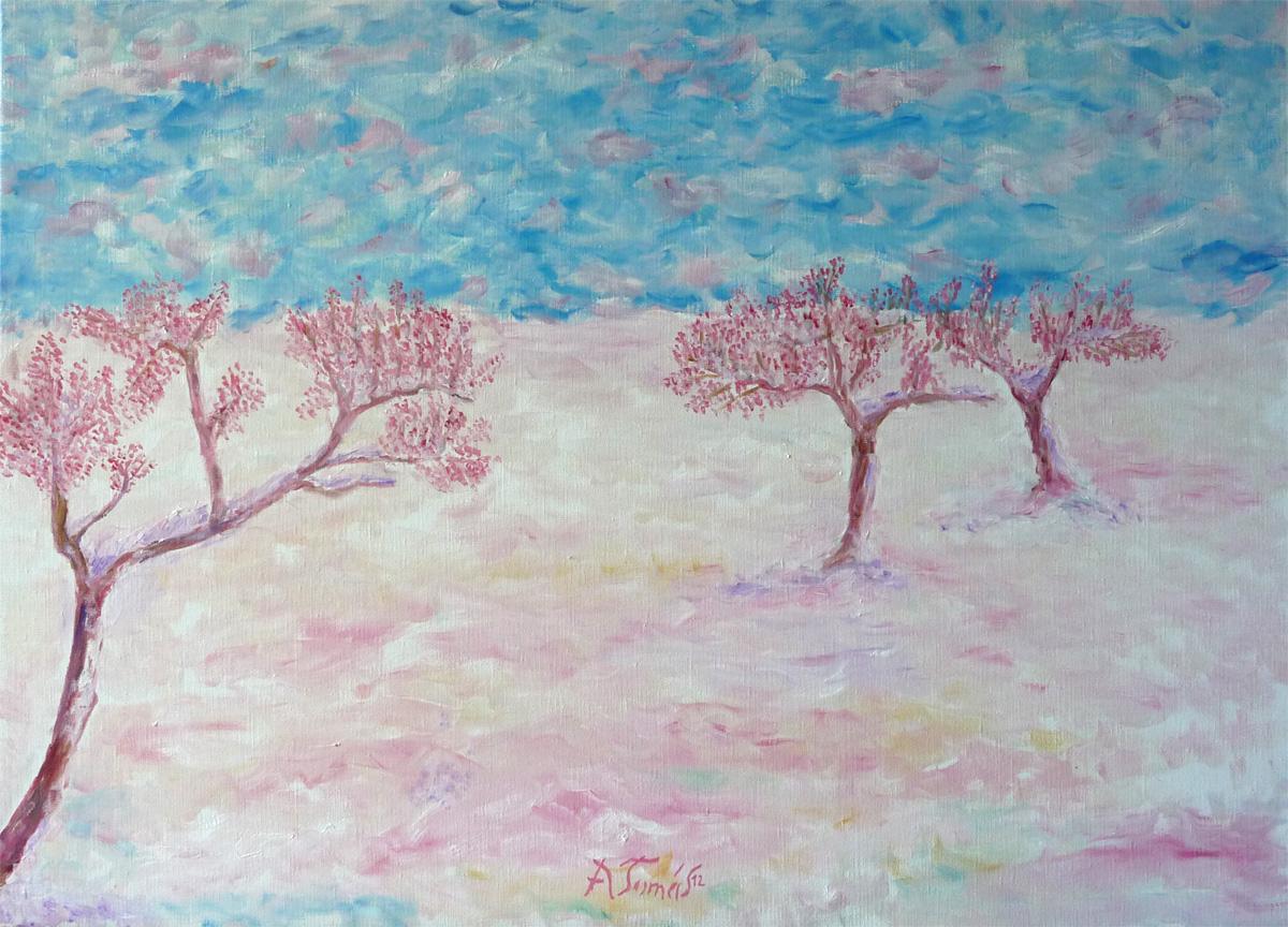 Mandelblüte im Schnee